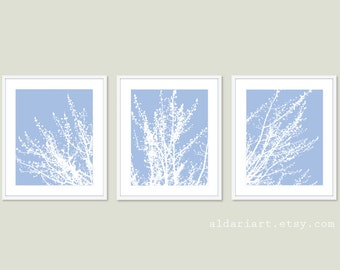 Modern Spring Tree Branches Art Prints -Set of 3 - Woodland Home Decor - Angel Blue an White - Contemporary Multi Panel Tree Triptych