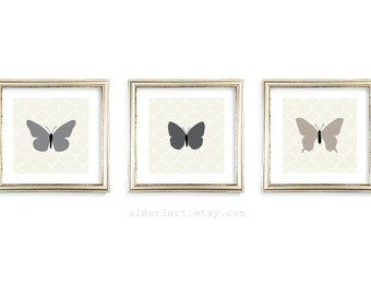 Butterfly Art Prints - Set of 3 - 5x5 or 8x8 - Unique Home Decor - Woodland Nature Wall Art - Slate Charcoal Soft Taupe - Neutral Colors