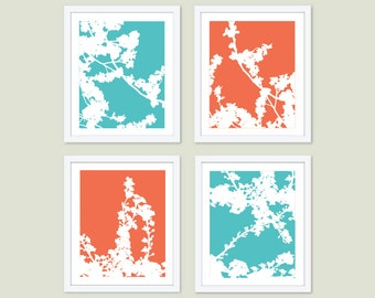 Cherry Blossoms Art Prints -  Cherry Tree Art - Aqua Blue Turquoise Blue and Coral - Spring Branches Wall Art - Modern Decor