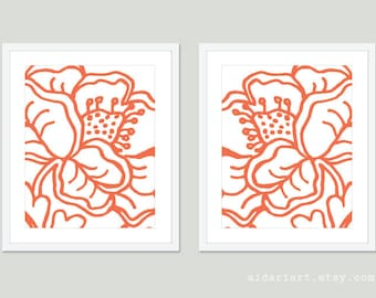 Coral Flowers Art Print - Coral and White - Set of 2 - Modern Flower Wall Art - Abstract Flower Art - Home Decor - Flower Poster