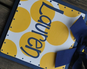 Bow Holder --- Navy and Yellow SIMPLICITY Design -  Handpainted and Personalized Hair Bow Holder