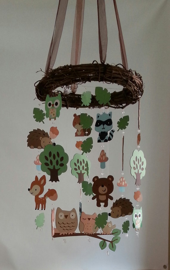Baby mobile forest baby mobile tribal mobile woodland for Woodland animals nursery mobile