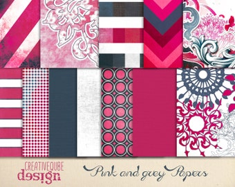 Digital paper, Digital Scrapbook paper pack - Instant download - 12 Digital Papers - Pink and grey
