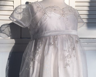 Exquisite White Shantung Silk Empire Waist Dress with Embroidered, Sequined, and Beaded Tulle Lace Overlay Dress - One of a Kind MB10018