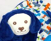 Blue Puppy Security Blanket, Lovey, Lovey Blanket, Minky Baby Blanket, Stuffed Animal, Baby Toy, Teething Toy, Sensory Blanket, Blankie, Dog