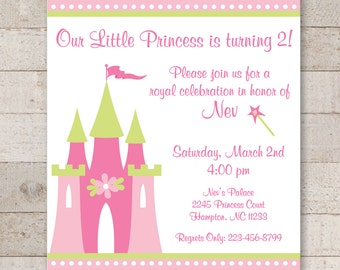 Princess Birthday Invitations - Girls Birthday Party Decorations - Princess Party - Dark Pink, Light Pink and Lime Green - Set of 12