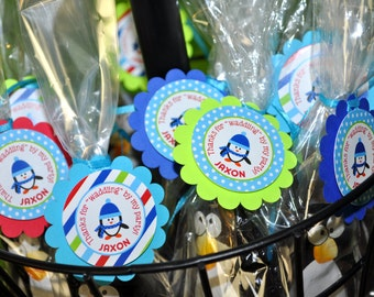 Penguin Favor Tags - Winter Onederland Birthday Party Decorations - Boys Penguin Party Favor Tags - Set of 12