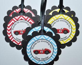 Boys Birthday Party Favor Tags - Race Car Chevron Birthday Party Decorations - Set of 12