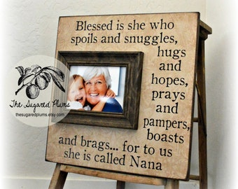 personalized mothers day gift blessed is she who spoils new grandma gift grandma - Nana Picture Frame