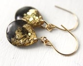 black dangle earrings with gold leaf and glitter on 14 karat gold, black earrings, black drop earrings, gold earrings, gold drop earrings