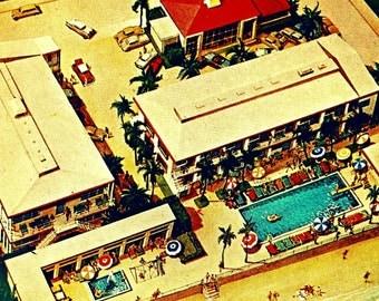 Swimming Pool Art, Mid Century Modern Motel Art, Aerial View Motel Art, Sunny Isles Aerial Photography, 12x12 20x20 Swimming Pool photograph