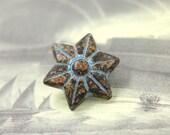 Metal Buttons - Hexagram Flower Blue Patina Metal Shank Buttons - 0.79 inch - 3 pcs