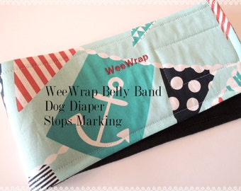 Dog Diaper Belly Band, Stop Marking with WeeWrap Personalized, Eco-Friendly, Ahoy Matey Fabric