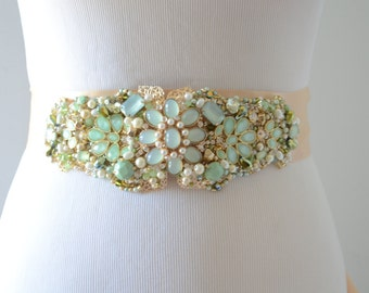 Bridal Heirloom Emerald Green and Gold gown Sash,Gold beaded rhinestone sash, Jade and green and gold gown belt, gold beaded rhinestone sash