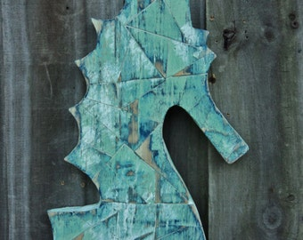 Wooden Mosaic Sea Horse, Hand Cut Wood, Nautical Wall Hanging