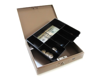 Industrial Heavy-Duty Steel Cash Strong Box for Petty Cash Fundraising Office w Secure Latch and Lock