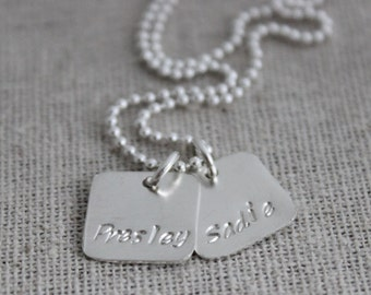 2 names mothers necklace, push present, two names necklace, mommy necklace, mothers necklace, stamped names jewelry
