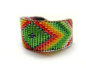 Huichol Style, Emerald Green and Black Rainbow Diamond Beaded Bracelet or Anklet