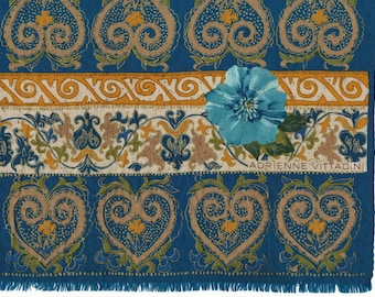 AMAZING Adrienne Vittadini Scarf in Teal silk with gold