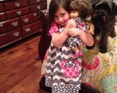 Minnie's gray chevron pillowcase matching doll dress 5t, 6, 7, 8 to fit American Girl doll Modeled by Sophie