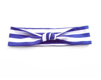 Blue and White Stripe Lightweight Jersey Knit Top Knot Headband Fits Baby to Toddler Size