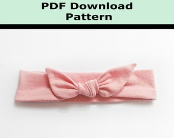 Baby Head Band Headband PDF Instant Download Pattern and Tutorial Knot Tie Baby Size Jersey Knit Stretch Headband