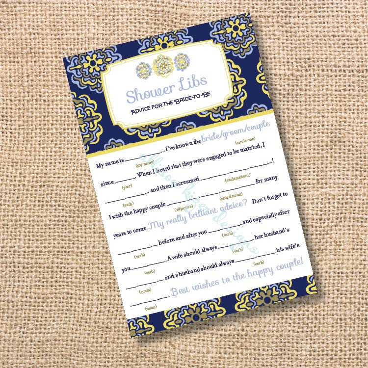 Baby Shower Games In Spanish: Spanish Tiles Printable Bridal Shower Mad Libs Advice For The
