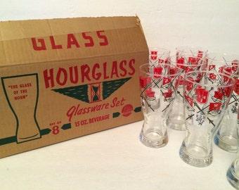 Vintage Libbey Hourglass Red & Black Sword Shield Glasses NOS Barware Set of 8