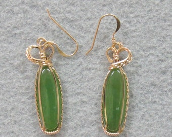 Jade and Goldfilled Wire Earrings