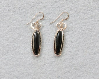 Black Onyx and Goldfilled Wire Earrings