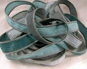 Hand Dyed Silk Ribbon, Silk Wrist Wrap,  Hand Painted Ribbon, Crinkle Silk, Fairy Ribbon - Quintessence - Stormy Sky