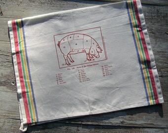 Cuts of Pork Butcher Chart Tea Towel - 100% cotton tea towel