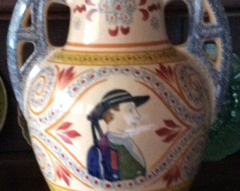 Large Vintage French Country Quimper Vase, Beautiful