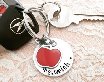 Personalized teacher gift, apple charm hand stamped keychain