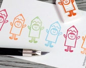 pencil stamp, kids costume stamp, cute kids rubber stamp, colourful pastel stamp, school project for kids, hand carved stamp, cute stamp