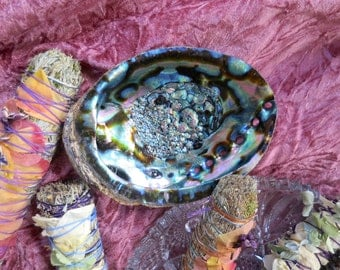 This beautiful large Abalone Shell is the perfect smudging bowl.
