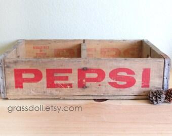 Vintage 1967 PEPSI Wood Crate with Metal Straps , Pueblo Colorado / 13811