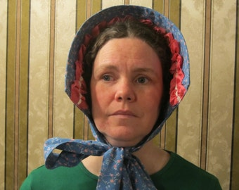 """Bonnet - Blue floral cotton with coral ruching and vintage lace trim - Stiffened with buckram and wire - 44"""" long ties - Civil War"""