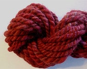 Super Bulky Handspun Yarn Alpaca and Merino Hand Dyed 18 Yards Maroon Mini-Skein Knitting Supplies Doll Hair Crochet