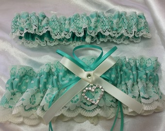 Aqua sea foam blue and IVORY or WHITE  Wedding Garter