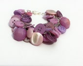 Bracelet Button Charm Bracelet in Light Shades of Lilac Purple