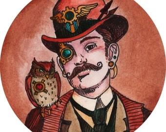 "Custom Miniature Steampunk Portrait 4""- 6"" Personalized Original ARTWORK Just For You"