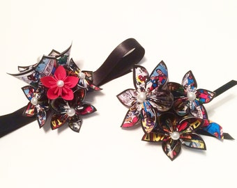 Date Night- Comic Corsage & Boutonniere set, prom, homecoming, wedding accessory, handmade, one of a kind