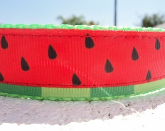 "Sale,Watermelon Dog Collar, Quick Release buckle, or, Martingale collar, 1"" wide adjustable  S - XXL - incl dogs  neck measurement/s"