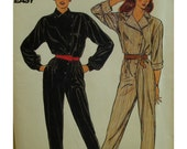 """80s Women's Side Button Jumpsuit Pattern, Long Sleeves, Cuffs, Blouson, Tapered Lags, Belted, Butterick No. 6093 Size 12 (Bust 34"""" 87cm)"""