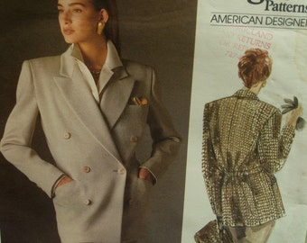 1980s DKNYJacket Pattern, Double Breasted, Long, Back Belt, Notched Collar, Vogue American Designer No. 1960 UNCUT Size 12 14 16