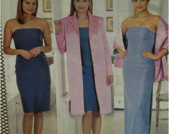 Cynthia Rowley Evening Gown Pattern, Strapless, Fitted, Boned, Matching Coat, Straight, Stole,  Butterick No. 6076 UNCUT Size 14 16 18