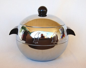 Vintage West Bend Penguin Hot and Cold Server Mid-Century Art Deco Excellent Used Condition Stainless Steel Insulated Server