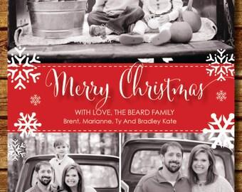 Merry Christmas Multiple Photo Holiday Card, Custom Family Christmas Card with Photos