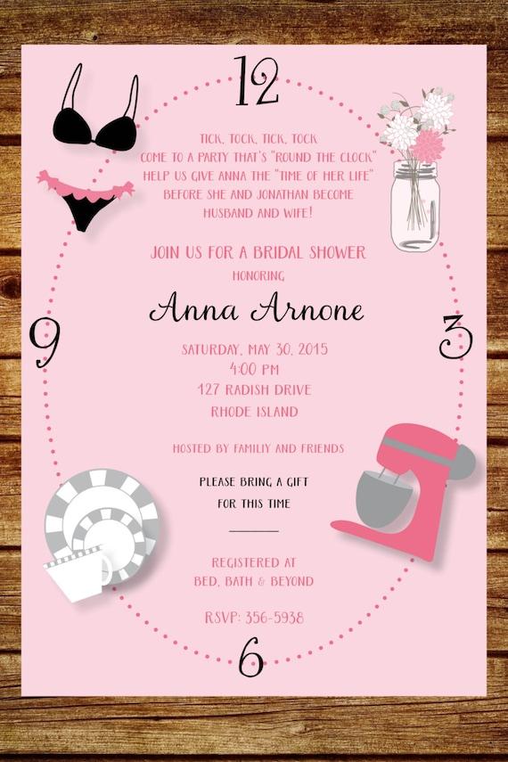 Around the Clock Wedding Shower Invitation Custom Around the